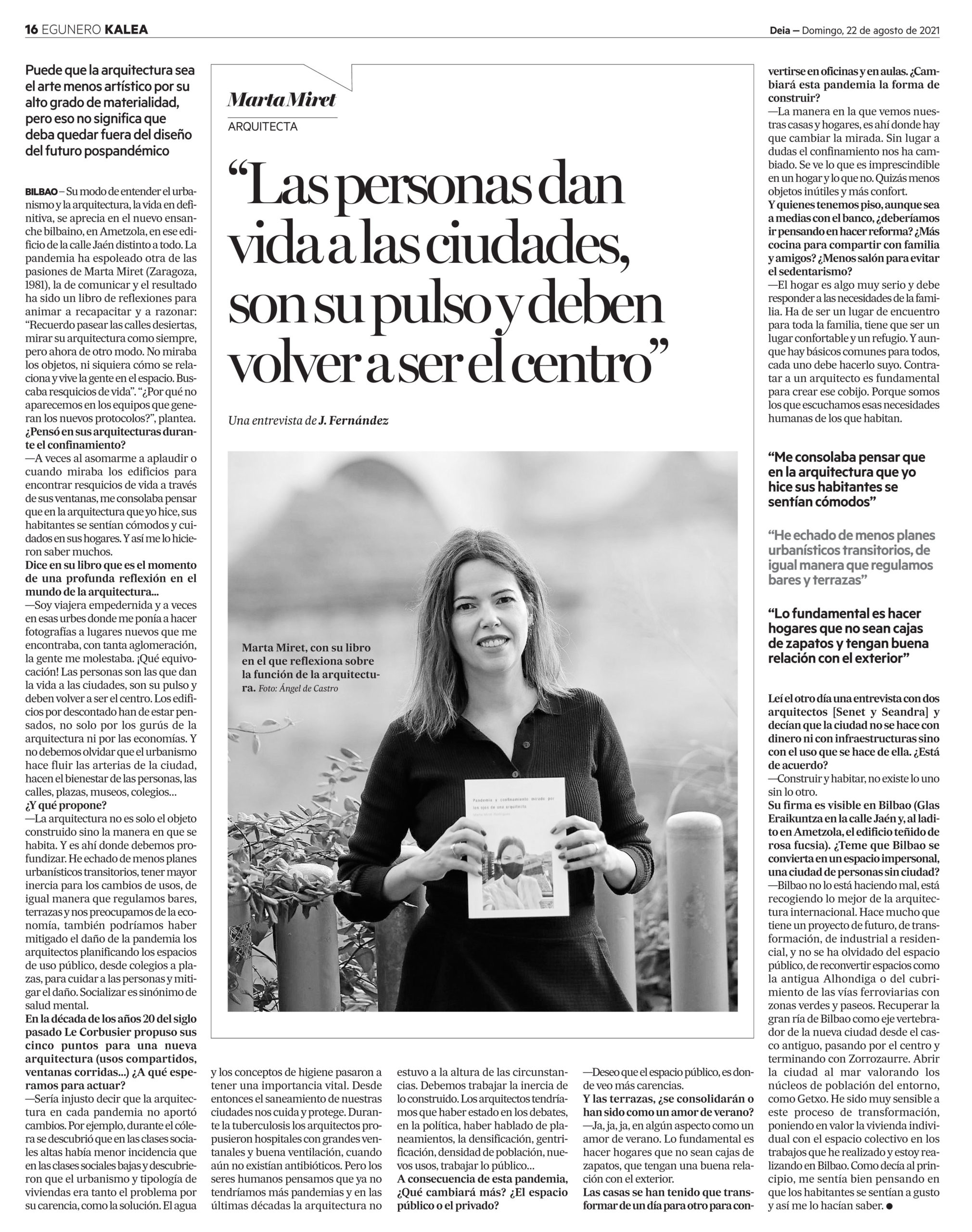 Entrevista arquitecta Marta Miret en Deia